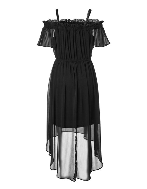 Black Chiffon High-Low Dress, Black, hi-res