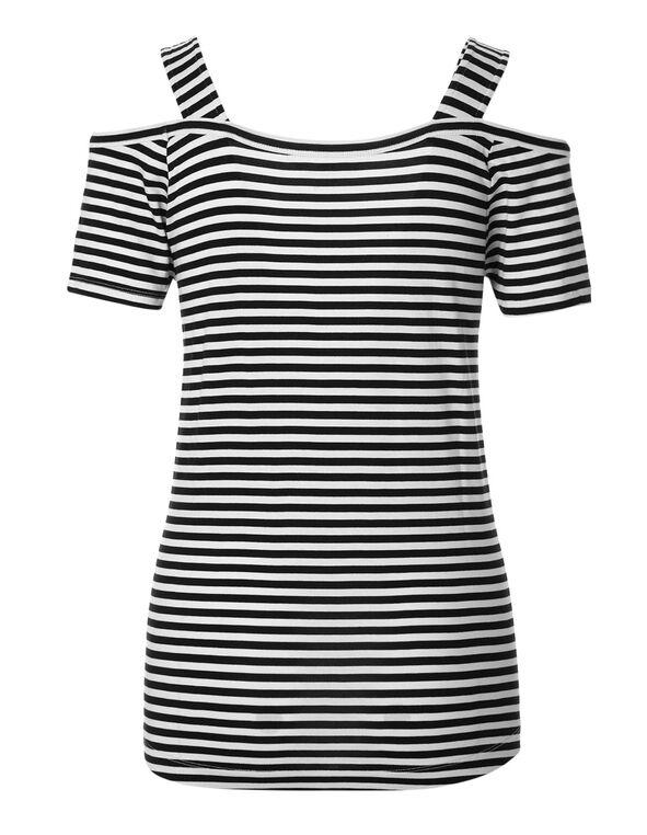 Striped Cold Shoulder Top, Black/White Print, hi-res