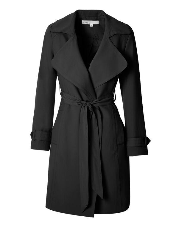 Black Belted Soft Trench Jacket, Black, hi-res