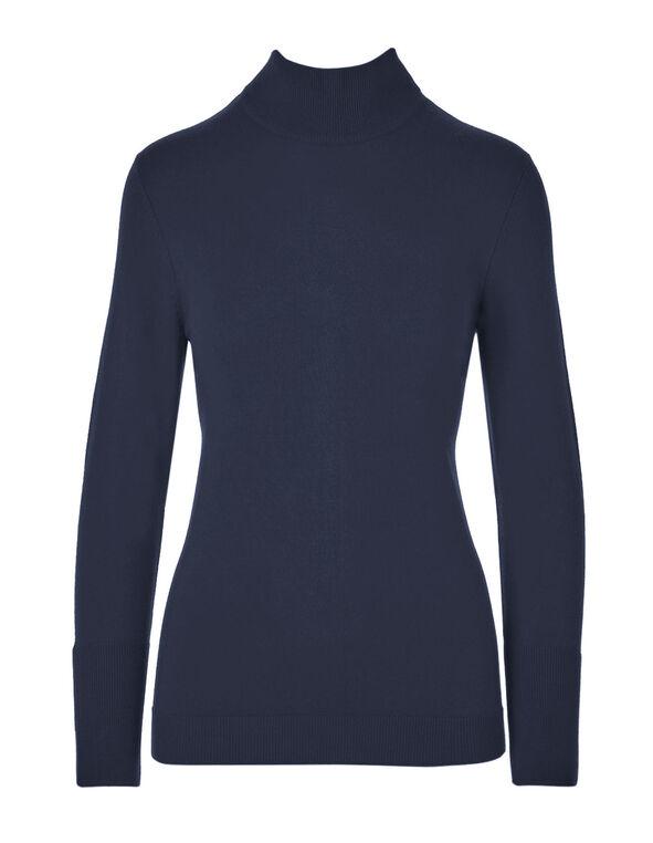 Navy Mock Neck Sweater, Navy, hi-res