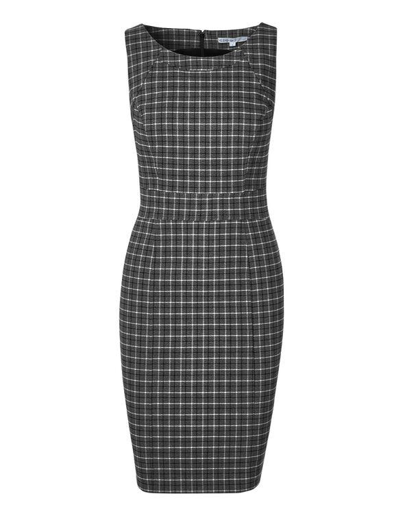Grey Plaid Sheath Dress, Grey Plaid, hi-res