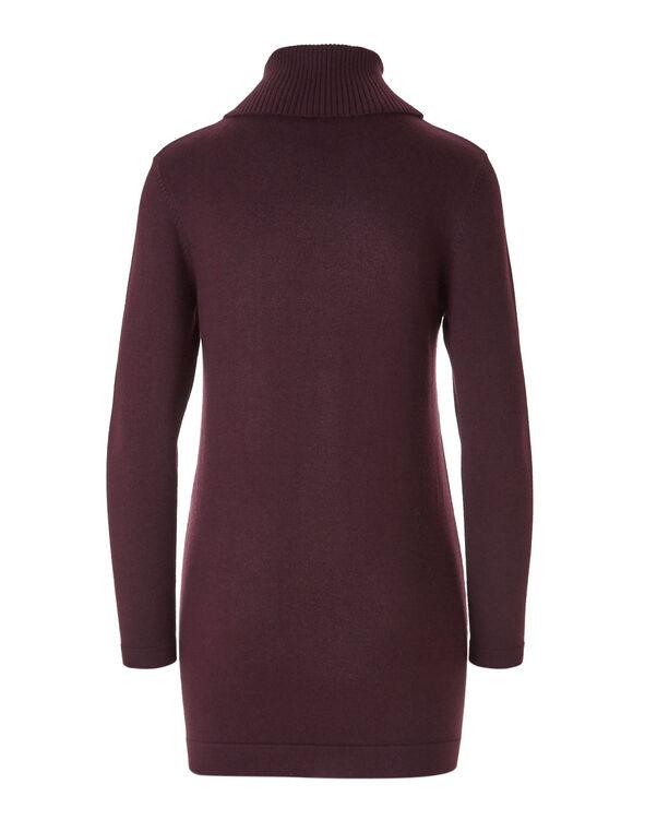 Burgundy Open Tunic Sweater, Burgundy, hi-res
