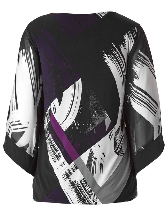 Purple Patterned Bubble Hem Top, Purple/Grey/Black, hi-res