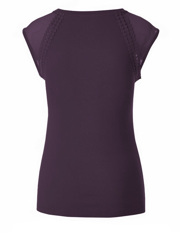Purple Cotton Mesh Tee, Purple, hi-res