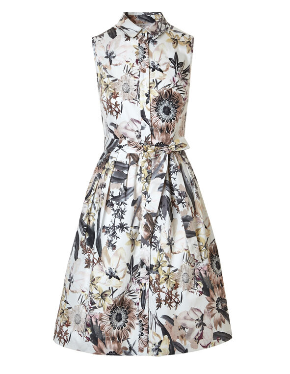 Floral Sateen Dress With Pockets, Floral, hi-res