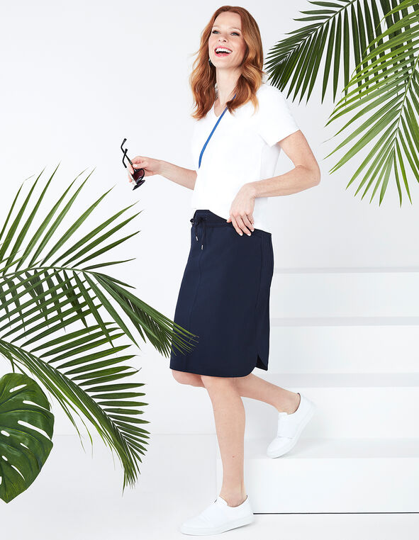 Navy Soft Skirt, Navy, hi-res