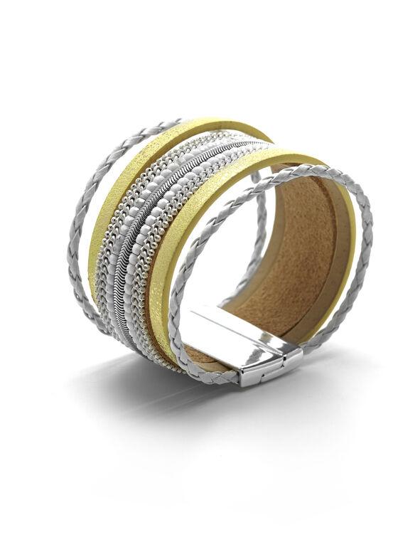 Yellow Magnetic Wrap Bracelet, Yellow, hi-res