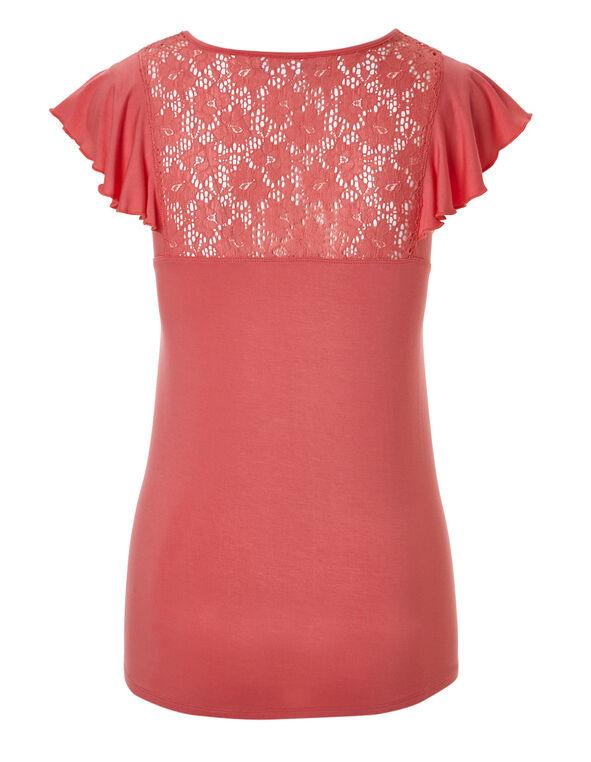 Coral Flutter Sleeve Crochet Top, Coral, hi-res