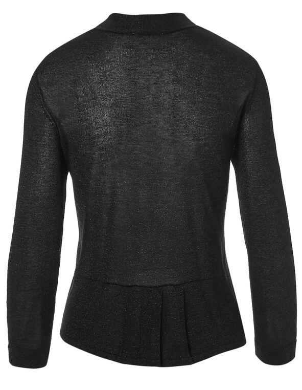 Black Shimmer Short Open Cardigan, Black, hi-res