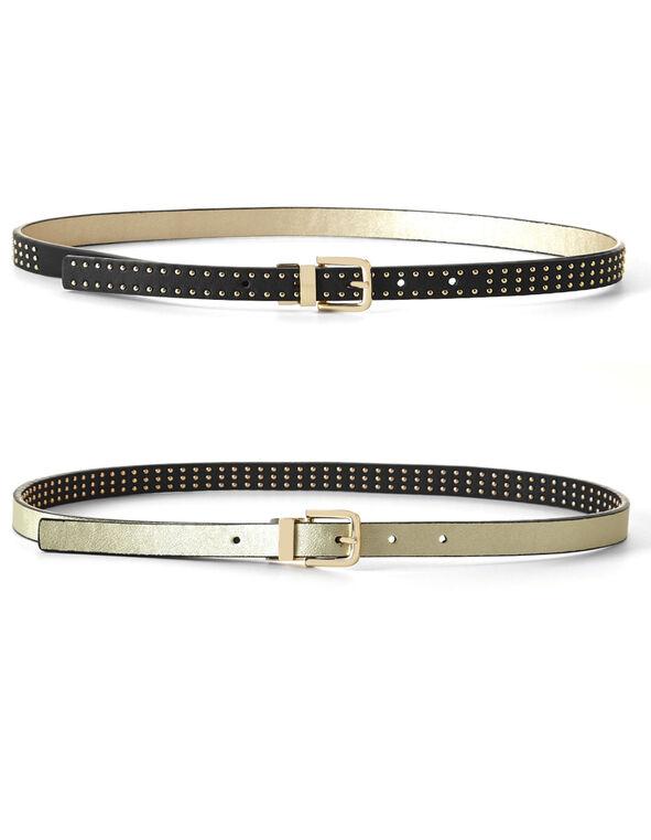 Black Gold Stud Reversible Belt, Black, hi-res