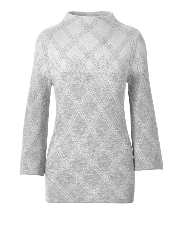 Grey Windowpane Print Sweater, Light Grey Mix, hi-res