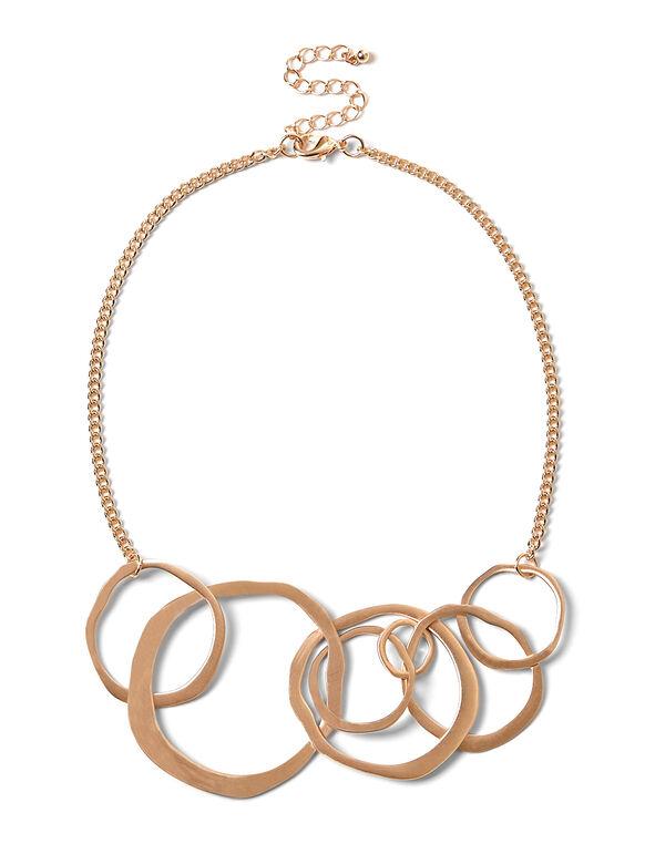 Rose Gold Irregular Circle Necklace, Rose Gold, hi-res