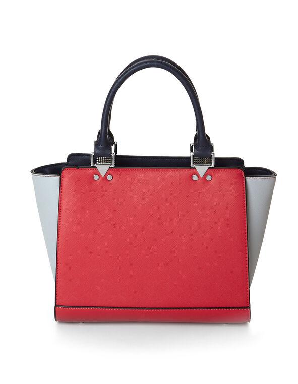 Red Colourblock Satchel, Red, hi-res