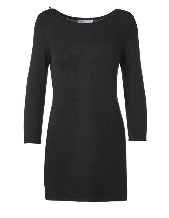 Black Tunic Sweater, Black, hi-res