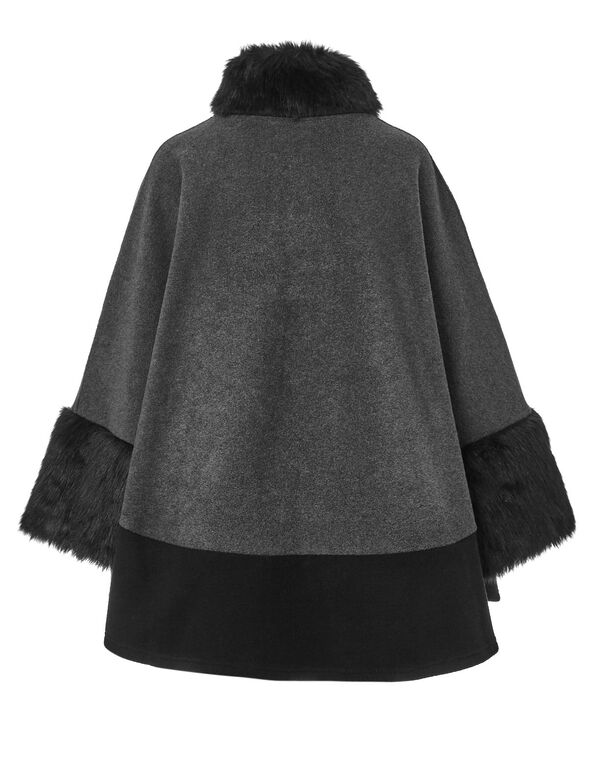 Faux Fur Trim Cape, Grey/Black, hi-res