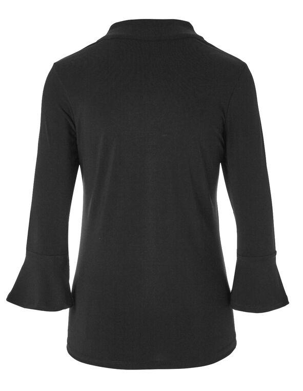 Black Bell Sleeve Top, Black, hi-res