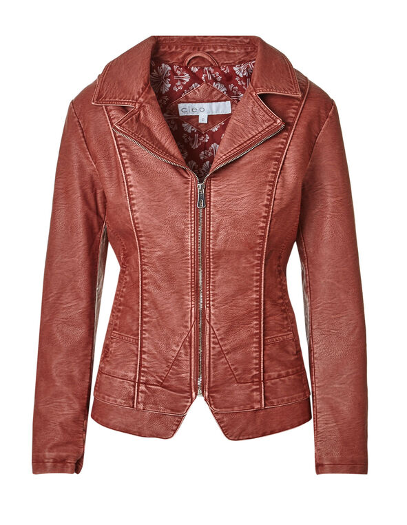 Chili Notch Faux Leather Jacket, Chili, hi-res