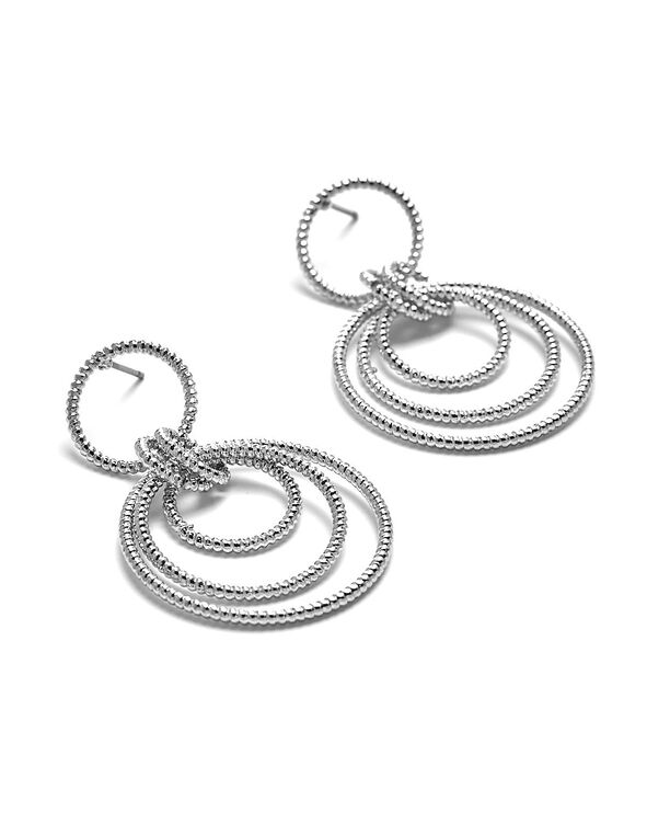 Textured Hoop Frontal Earring, Rhodium, hi-res