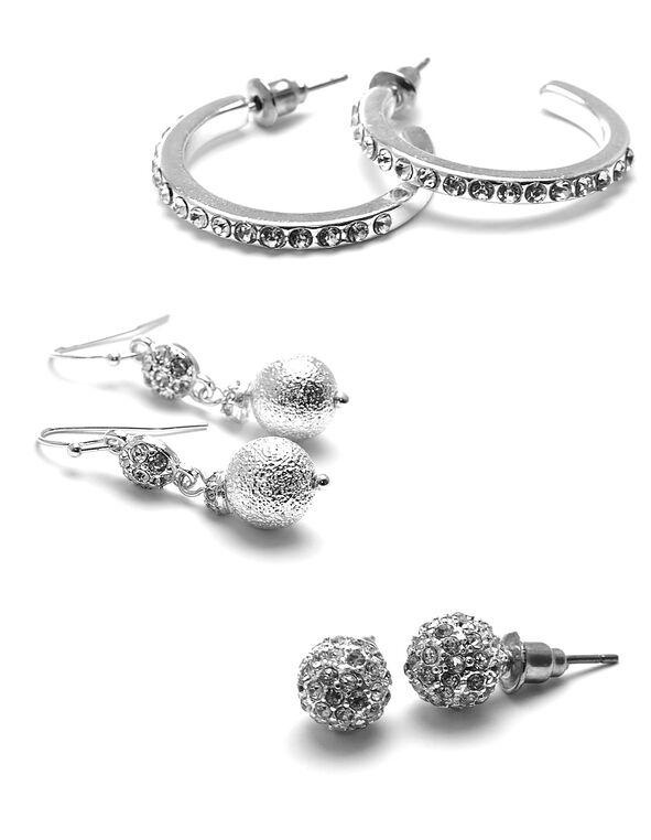 Sparkling Silver Earring Set, Silver, hi-res