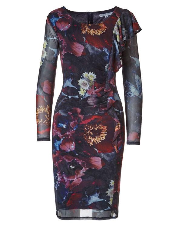 Floral Mesh Dress, Navy, hi-res