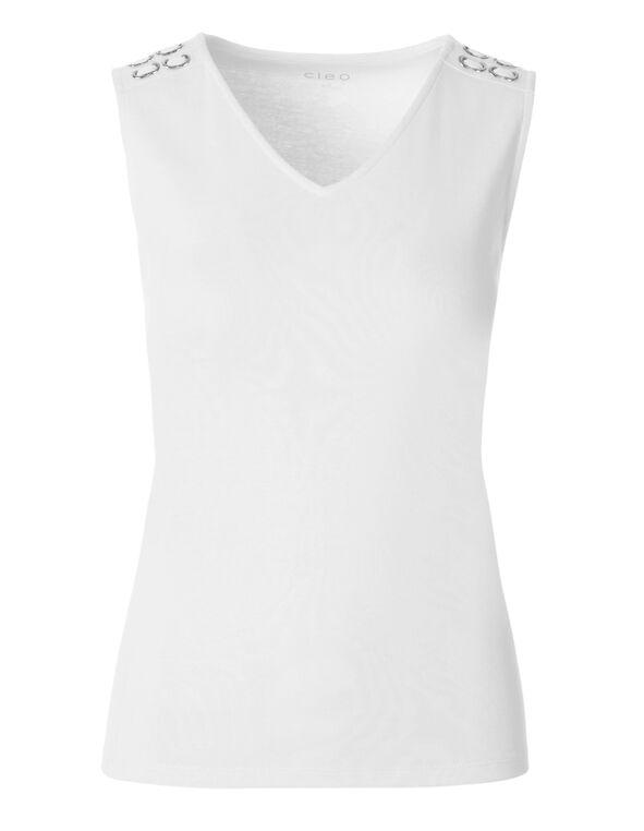 White Sleeveless Cotton Tee, White, hi-res