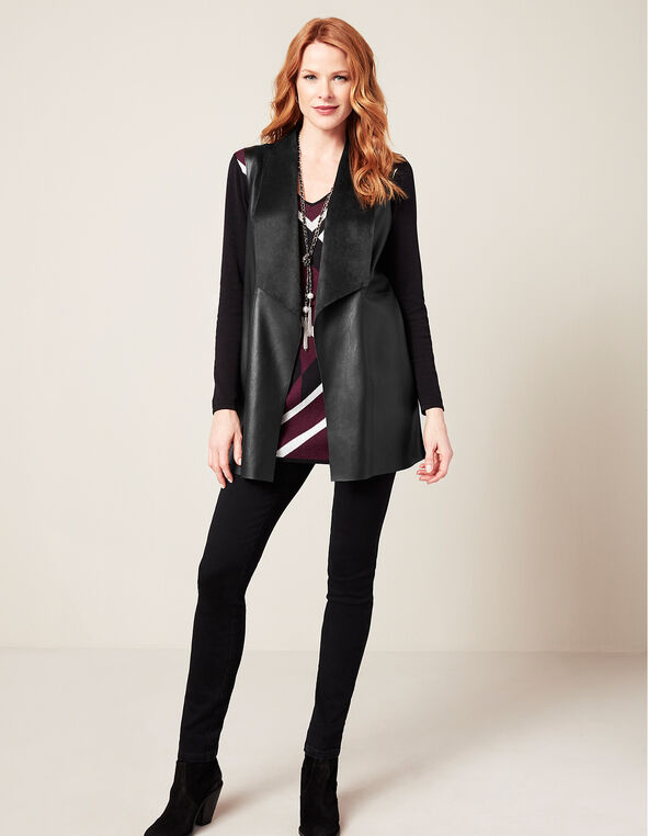 Black Drape Faux Leather Vest, Black, hi-res