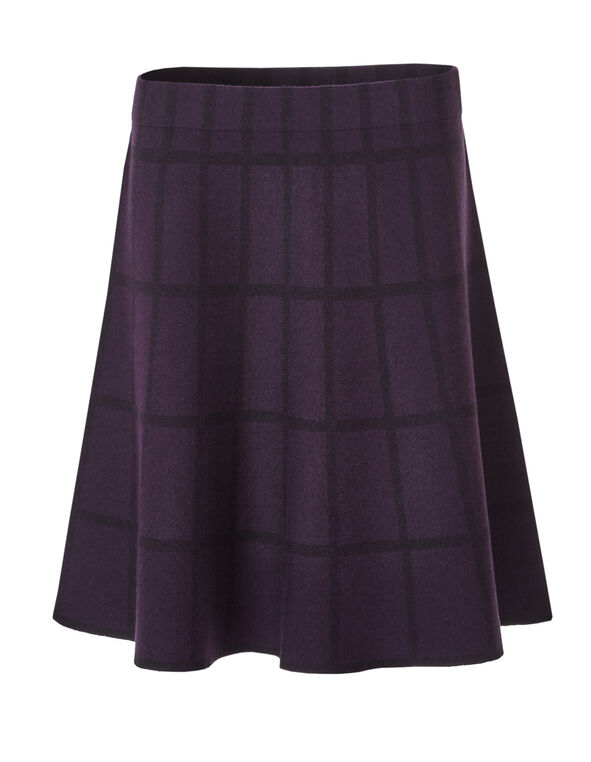 Plum Plaid Sweater Skirt, Dark Plum, hi-res