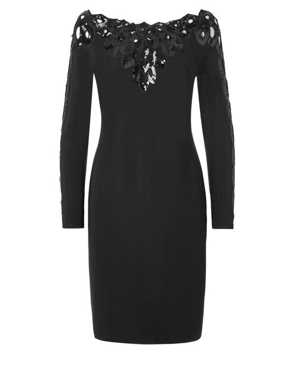 Black Sequin Long Sleeve Dress, Black, hi-res