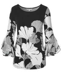 Neutral Floral Bell Sleeve Top