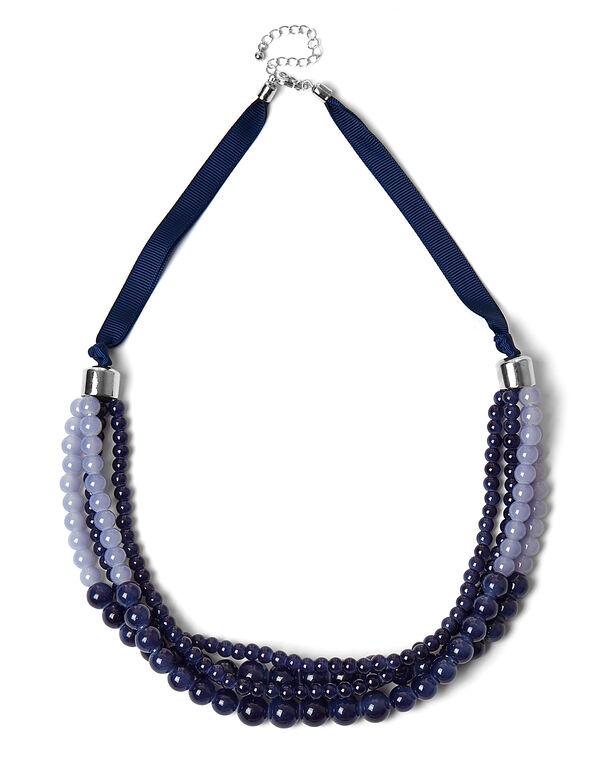 Blue Ombre Glass Bead Necklace, Blue, hi-res