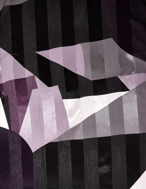Purple Printed Oblong Scarf, Purple/Black, hi-res