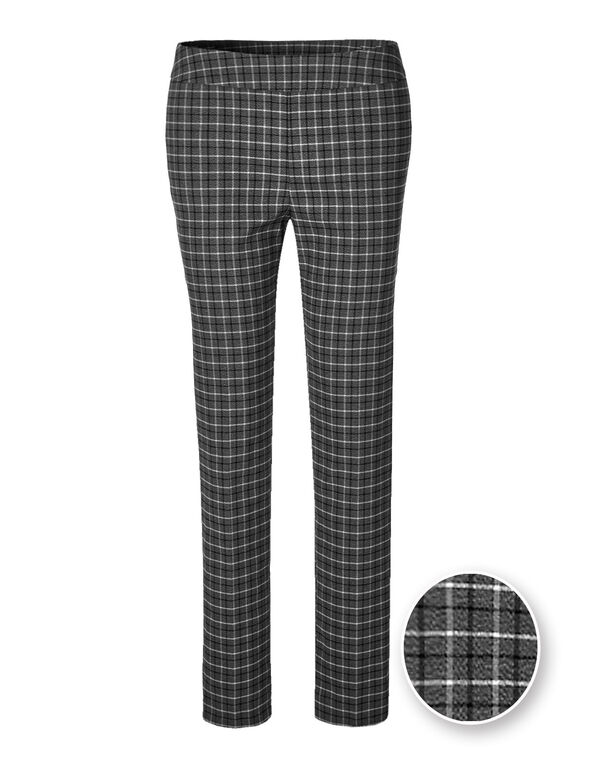 Cleo Signature Plaid X-Long Pant, Grey Plaid, hi-res