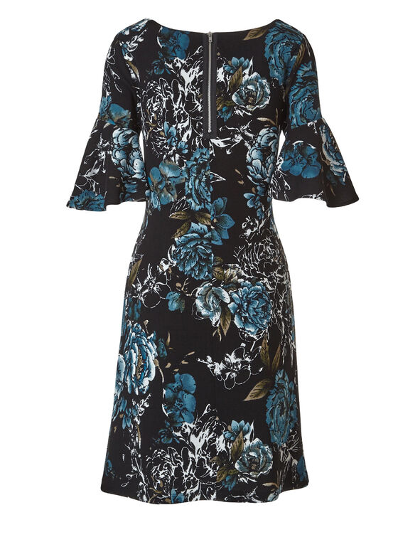 Teal Floral Printed Dress, Black/Teal, hi-res