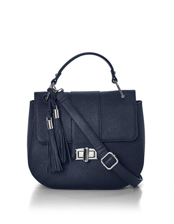 Navy Tassel Saddle Bag, Navy, hi-res
