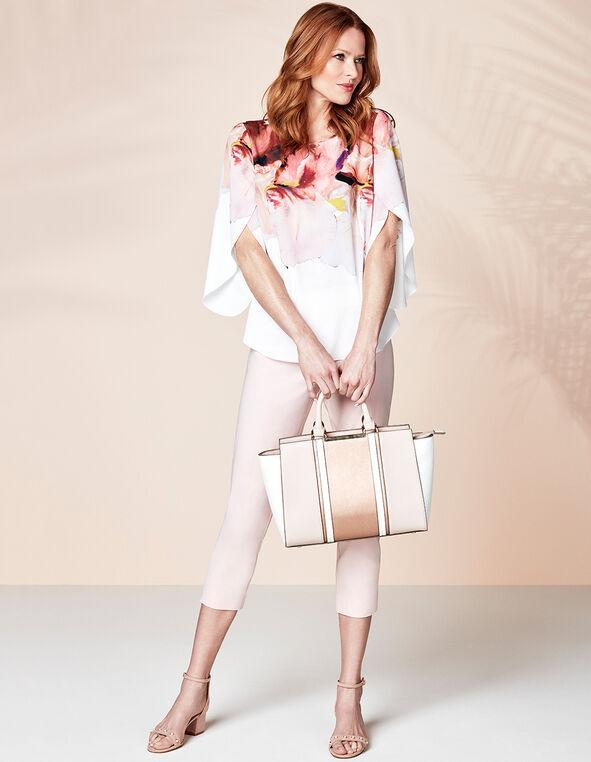 Rose Gold Colour Block Satchel, Pink, hi-res