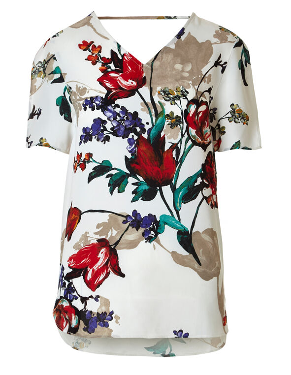 White Floral Midi Blouse, White / Red / Green, hi-res
