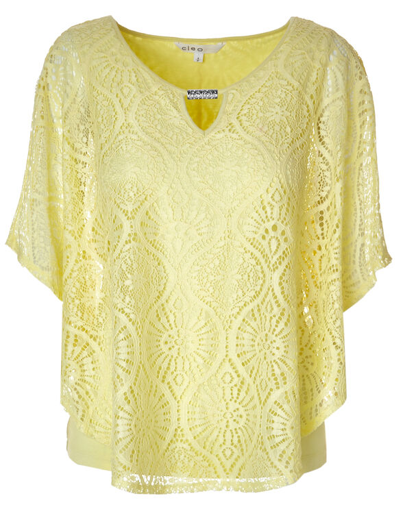 Yellow Lace Caftan Top, Yellow, hi-res