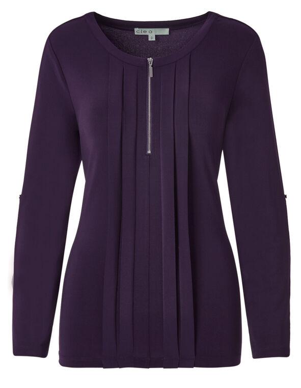 Purple Roll Up Sleeve Top, Purple, hi-res