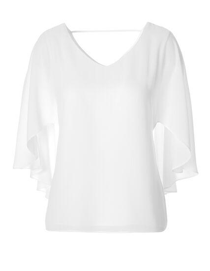 White Capelet Blouse, White, hi-res