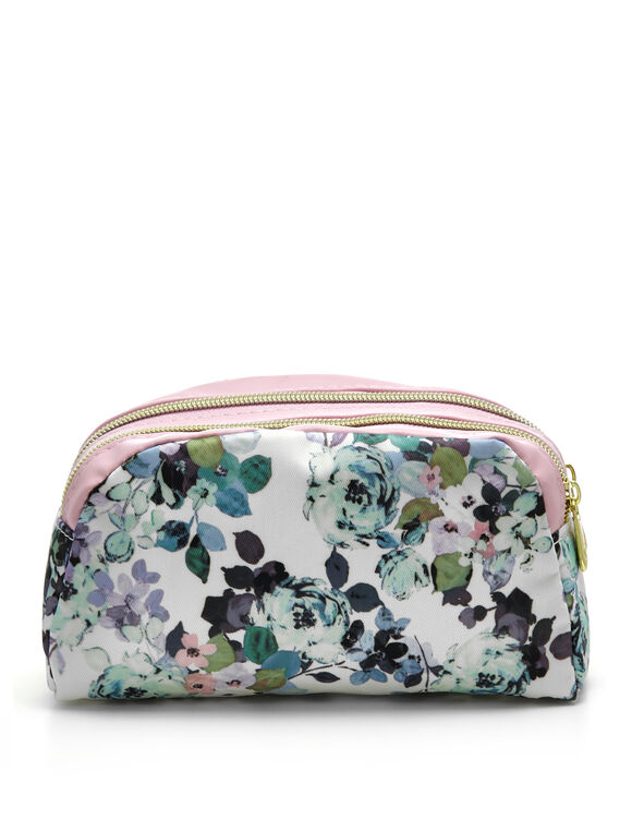 Purple Floral Cosmetic Case, Purple, hi-res