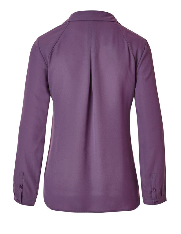 Plum Soft Button Front Blouse, Tangled Plum, hi-res