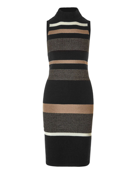 Striped Mock Neck Sweater Dress, Black/Stripe, hi-res