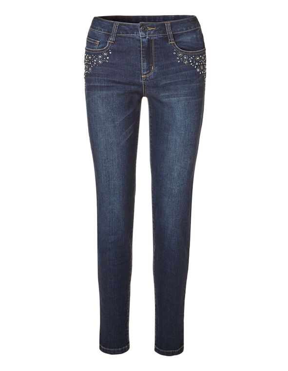 Dark Wash Bling Slim Jean, Dark Wash, hi-res