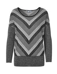 Silver Dolman Sleeve Sweater