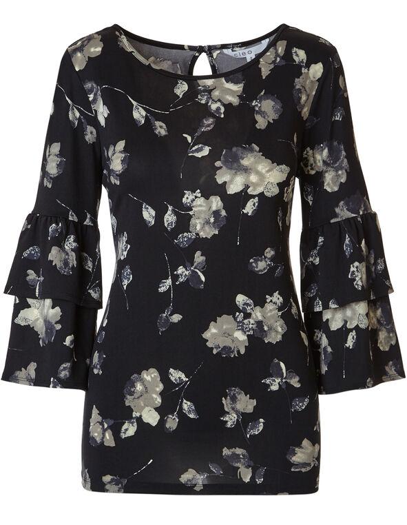 Black Floral Flutter Sleeve Top, Black Floral, hi-res