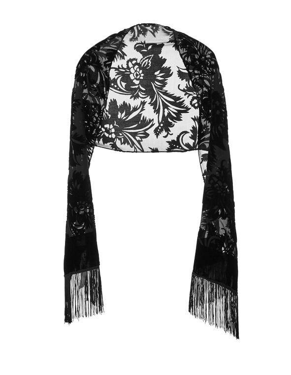 Black Rectangle Velvet Burnout Wrap, Black, hi-res