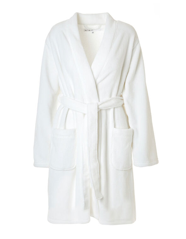 Ivory Plush Robe, Ivory, hi-res