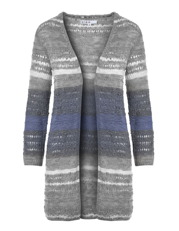 Blue Ombre Long Open Cardigan, Blue Mix, hi-res