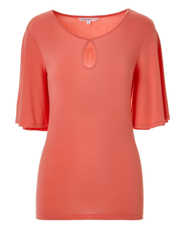 Coral Bell Sleeve Top, Coral, hi-res