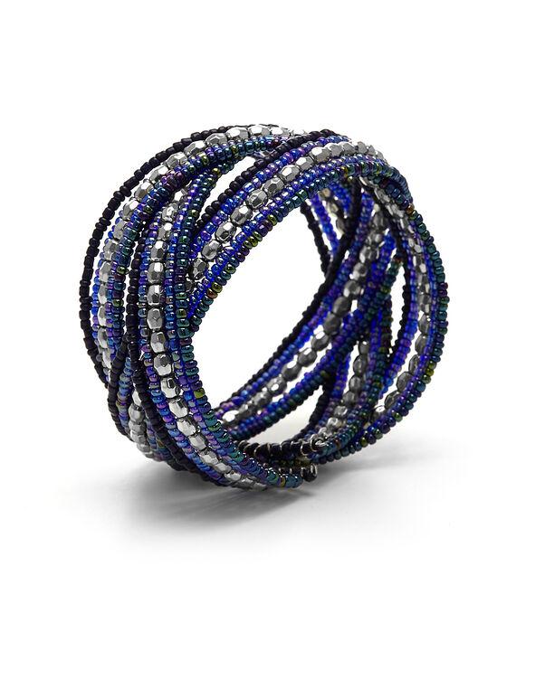 Blue Seed Bead Bracelet, Blue, hi-res